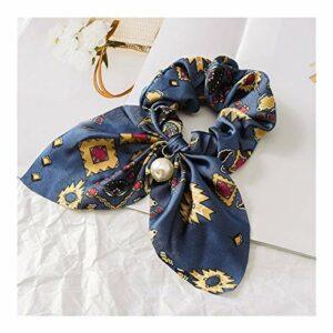 LUOSI Fleur Exquis Belle Impression Bord De Mer Cadeaux Cheveux Corde Réglable Perle Valentines Cadeau Élastique 1 PC Unique Bowknot (Color : Asphalt)