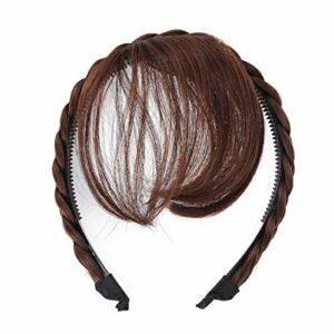 Lurrose Perruque de cheveux avant frange bandeau tresses accessoires de cheveux (brun clair)