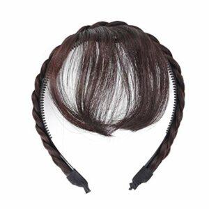 Lurrose Perruque de cheveux avant frange bandeau tresses accessoires de cheveux (brun foncé)