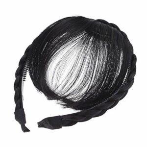 Lurrose Perruque de cheveux avant frange bandeau tresses accessoires de cheveux (noir)