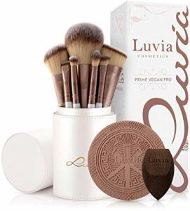 Luvia, Prime Vegan Pro Lot de 12 pinceaux de maquillage avec rangement pour pinceaux, éponge mélangeuse et tapis de nettoyage pour pinceaux de maquillage, nacre et café
