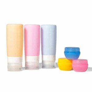 Meilang Lot de 6 flacons de voyage en silicone, 85 g, anti-fuite, sans BPA, accessoires de voyage, conteneurs pour shampooing, après-shampoing, lotion de bain Jaune, rose bonbon, bleu.