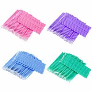 Micro Pinceaux Applicateurs Jetables Extension Cils Brosses Micro Coton-tige pour Maquillage des Cils Nettoyage 400 Pièces