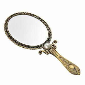 Minkissy Miroir à Main Vintage Miroir de Maquillage Pliable Décoratif Miroir Cosmétique de Poche pour Sacs à Main Voyage
