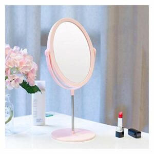 Miroir Cosmétique Miroirs de maquillage plat double face bureau ovale petite dressing portable rose miroir personnaliser miroir 8 pouces Miroir Vanity (Color : Pink)