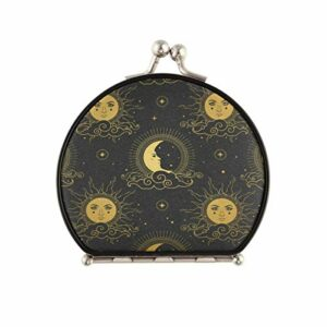 Miroir de maquillage de voyage pour femme – Soleil et lune dans ciel étoilé Miroir compact double face grossissant 2x et 1x Miroir à main pour sœur