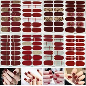 MWOOT 8 Feuilles Nail Art Sticker Rouge Ongle Autocollants Tattoo Décorations Manucure pour Ongles