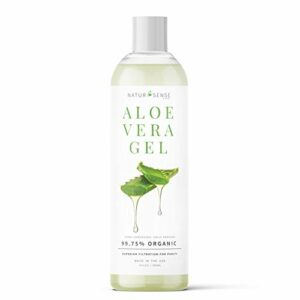 NaturSense Gel Aloe Vera biologique idéal pour visage, cheveux, coups de soleil, l'acné, des bosses de rasoir, psoriasis, eczéma – 2 oz.