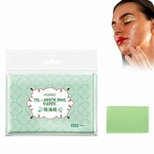 Papier buvard de maquillage, 100Pcs Papier buvard à l'huile Feuilles de tissus absorbant l'huile de pâte de bois brut pour éliminer l'excès de brillance et sans maculer le maquillage