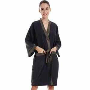 Pinji Vêtements de coiffure pour salon, bain de massage en spa Kimono de salon pour salon de beauté Uniforme de client à la mode Noir