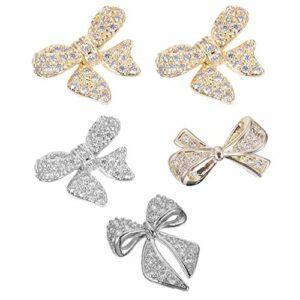 PIXNOR 5 Pièces Nail Art Bowknot Trois-Dimensions Couleur Préserver Ongles Bijoux Diamant