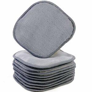 Polyte – Serviettes démaquillantes en microfibres Premium – soin du visage – moelleux/hypoallergénique/sans produits chimiques (13×13 cm, 10 Serviettes, Gris)