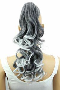 PRETTYSHOP 2 IN 1 Clip sur l'extension postiche Pièce de cheveux ondulé Look naturel fibres résistant à la chaleur Gris mix # 1Tgray1 H15-2