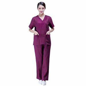 PRETYZOOM Ensemble de Vêtements Médicaux Infirmière Travaillant Costume Violet V Haut de Gommage avec Deux Poches Chemise Chirurgicale D'été Pantalon Vêtements D'isolement pour Femmes (Moyen)