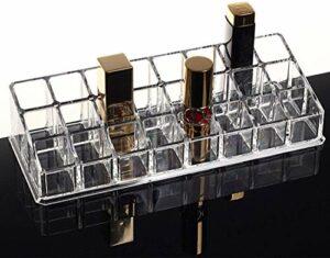 PuTwo Rangement Maquillage Boîte de Rangement pour Rouge à Lèvres à 24 Compartiments en Acrylique – sans Couvercle