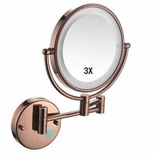 qazxsw Miroir de Maquillage fixé au Mur avec des lumières LED, Miroir de Maquillage Rond avec Miroir grossissant 3X 360 Rotation USB Rechargeable, pour Le Maquillage, Le Rasage, Les Soins