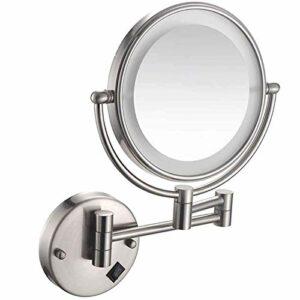 qazxsw Miroir de Maquillage Mural avec lumières LED, Miroir de Salle de Bain grossissant 5X, Miroir de Maquillage Rond Rotation 360 pour Le Maquillage, Le Rasage, Les Soins du Visage, rec
