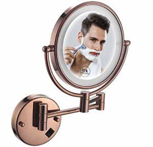 qazxsw Miroir de Maquillage Mural grossissant 10X, Miroir de Maquillage Double Face Miroir de Maquillage 8 Pouces avec lumières LED, Rotation 360 pour Le Maquillage, Le Rasage, Les Soins