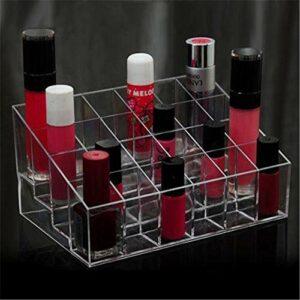 QQWA Organisateur De Rouge À Lèvres 24 Espaces Clairs, Présentoir De Maquillage Pour Organisateur Cosmétique Pour Rouge À Lèvres, Bouteilles, Pinceaux Et Plus