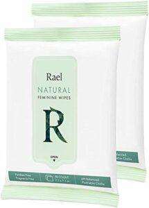 Rael Lingettes féminines avec des ingrédients naturels, utilisation de jour ou de nuit, jetable, pH équilibré, doux et sûr sur la peau. (2 Packs)