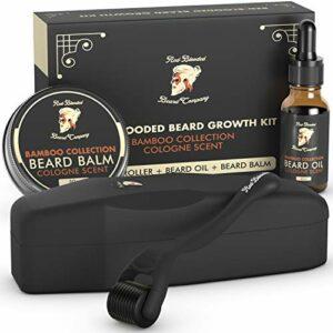 Red-Blooded Kit de croissance de barbe – Rouleau à barbe + huile à barbe + baume à barbe – Stimule la croissance de la barbe et des cheveux avec le meilleur parfum de Cologne pour les hommes