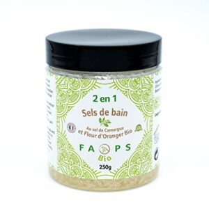 SELS DE BAIN Fleur d'Oranger Bio et Sel de Camargue.Produit Végan Français 100% Naturel,Végétal sans Sulfates,Silicones,Parabens, EDTA,Colorants,OGM,huiles minérales,huile de palme 250 G