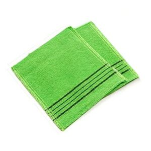 Serviette de Bain de qualité 2pcs / Set Serviette Double Face Exfoliative Bain de Bain de Gant de Toilette Body Sommaison Toutelle de Douche Portable 14 * 15C m Propre et Propre (Color : 2 Green)