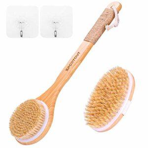 Sportout Lot de 2 brosses exfoliantes pour le corps, pour le bain, la douche, poils naturels effet anti-cellulite