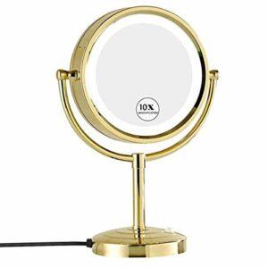 SYue Miroir de courtoisie avec lumières LED, grossissement 1x / 10x Miroir de Maquillage Rond 360 Rotation Miroir de Maquillage Double Face, pour Le Maquillage, Le Rasage, Les Soins du Visage – O