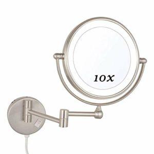 SYue Miroir de Maquillage avec lumières LED 10X, Miroir de Maquillage fixé au Mur, Miroir de Maquillage Rond 360 Rotation, pour Le Maquillage, Le Rasage, Les Soins du Visage