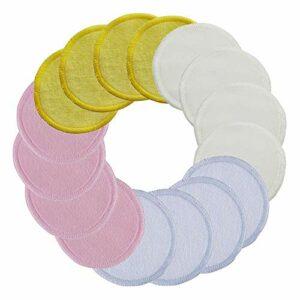 Tampon démaquillant réutilisable, Tampons nettoyants pour le visage lavables avec sac à linge, rondes de coton bambou organiques réutilisables pour les tampons de solvant de lèvre pour les yeux