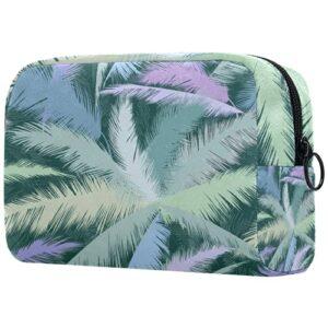 Trousse de Toilette de Maquillage pour Les Femmes Sac à Main Organisateur de kit de Voyage cosmétique,Abstrait Floral Palmier Coloré