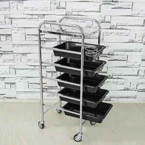 TYWZJ Chariot Multifonctionnel de Coiffeur de Chariot de Salon de 5 tiroirs, Plateau de Stockage de Salon de Coiffure Chariot de Stockage Roulant de Spa de beauté Noir
