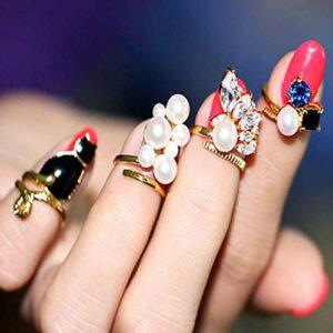 TYWZJ Faux Ongles Anneaux Or Doigt Ongles Anneau Cristal Perle Ongles décorations Porter sur Les Ongles réglable Bijoux pour Femmes et Filles