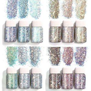 Unkonw 12 couleurs holographique Chunky paillettes paillettes pour visage corps yeux cheveux ongles décor arc-en-ciel arrose
