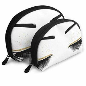Vector Illustration d'yeux avec yeux longs et cils pour salon de beauté – Pochette à fermeture éclair – Trousse de toilette – Organiseur de voyage – Pochette de rangement