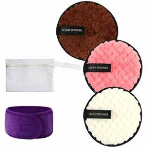 Vtrem 3Pcs Cotons Démaquillants Lavable Kit Tampons Démaquillants Biologique Éponge Lingettes Démaquillage Réutilisable Makeup Pads Démaquillante Microfibre + Sac à Linge + Bandeau Maquillage