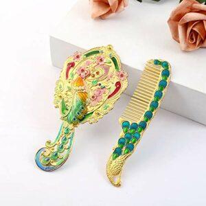 weichuang Miroir de coiffeuse de luxe européen vintage en forme de cœur doré avec cadre de miroir de poche et peigne à cheveux cadeau pour fille (couleur : 1)