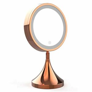 Wlylyhjy Mirror a Mené Lighted Maquillage, Maquillage Miroirs Simple Face Amplification Tactile Dimming Bas Design Stable; Rotation Highlight Ne Blesse Pas Les Yeux
