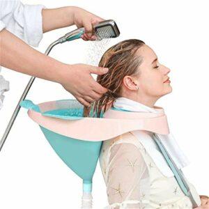 WODT Bassin Shampooing Portable, Lavabo à Laver Pliable Cheveux avec Sangle Amovible et Tube de Drainage pour Les Femmes Enceintes, Les Personnes âgées