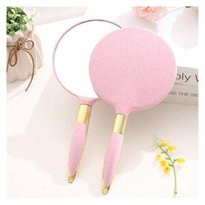 WXFF Miroir Coméstique 2pc Maquillage de Poche Miroir Miroir Miroir Miroir Miroir Miroir Portable Maquillage vanité avec poignée Miroir Compact cosmétique pour Femmes Viaggio (Color : Pink)