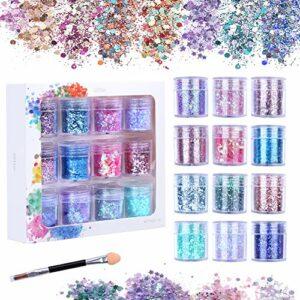Xiangmall 12 Boîtes Chunky Glitter Visage Coloré Paillettes Maquillage Carnaval Poudre Pailletée avec Pinceaux Cosmétiques pour Décoration Art Ongle Visage Corps Lèvres Cheveux (Bleu violet)