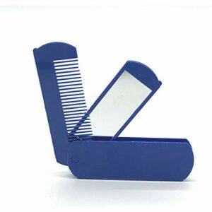 Xiton Lot de 1 mini brosse à cheveux pliable, avec miroir, poche, miroir compact, 2 en 1 Bleu