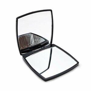 XKMY Mini miroir de poche portable pliable double face – Miroir de maquillage grossissant x 2 – Noir