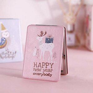XKMY Mini miroir de poche rond portable pliable à deux côtés, motif renne et flamant rose, accessoire de maquillage vintage