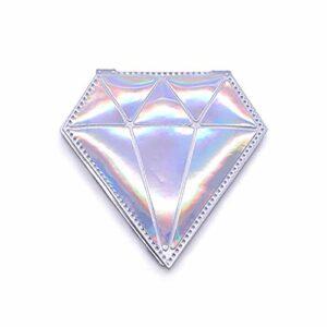 XKMY Miroir portable pliable en forme de diamant – Miroir de maquillage portable – Miroir grossissant – Miroir de courtoisie compact – Outils de maquillage (couleur : argent)