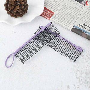 YHN Élastique Vintage Pince À Cheveux Double Peigne Accessoire De Cheveux Pince À Cheveux Extensible Peigne Outils De Coiffure, L Violet