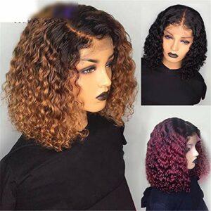 ZYC Perruque courte en cheveux humains bouclés pré-épilés – Couleur : rouge bordeaux