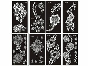 8 Feuilles Mehndi Tatouage Pochoir pour le corps Mehndi Tatouages au henné Set A – pour tatouage au henné, tatouage paillettes et aérographe tatouage