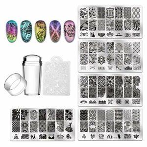 BANGSUN Lot de 5 plaques de stamping pour ongles, 1 tampon, 1 grattoir.